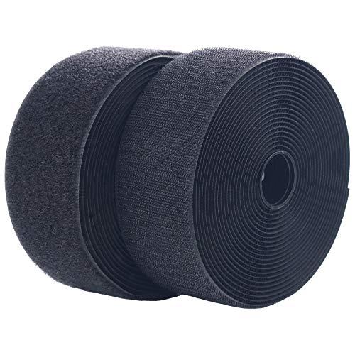 LLPT Nastro in nylon Senza adesivo 5 cm x 5 m Chiusura in largo Cuscinetto Nastro ad anello Adatto per progetti di cucito fai da te e prodotti fatti a mano, nero (NHB223)