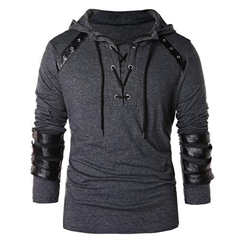 HEFYBA Camisa De Estilo Medieval Vintage para Hombres con Cuello En V Personalización con Capucha Camiseta Blusa