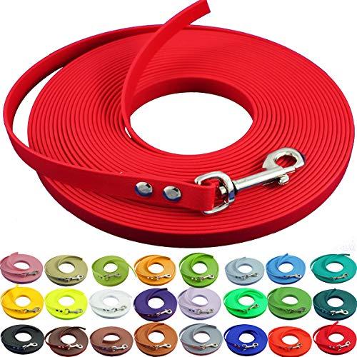 bio-leine Schleppleine 12mm aus Biothane - 5,0 m in Rot I Hundeleine ohne Handschlaufe für kleine und große Hunde - Wasserabweisende Leine