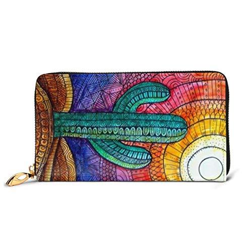 BGHYT Brieftasche Sunlight Cactus Wallets for Men Women Long Leather Checkbook Card Holder Purse Zipper Buckle Elegant Clutch Ladies Coin Purse