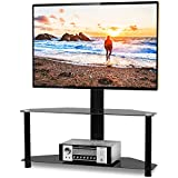 5Rcom Corner TV Stand with Swivel Mount and Height adjustable for 32 37 40 42 47 50 55 60 65 inch Vizio/Samsung/TCL/LG Flat Panel and Curved Screen TVs, 2 Tier Tempered Glass Shelves for Media Storage
