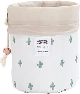 HOYOFO Makeup Bags Travel Drawstring Bags Cosmetics Barrel Bag Quick Packing Storage (Cactus)