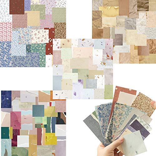 Scrapbook paper Block, 240 Blatt Motivblock Vintage Scrapbooking Papier,Gemustertes Hintergrundpapier Designpapier Karton Bastelpapier Für DIY Handwerk Foto Hintergrund Deko, Einseitig, 54-110mm