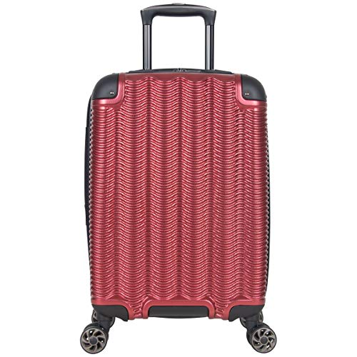 """Kenneth Cole Reaction Wave Rush 20"""" Lightweight Hardside 8-Wheel Spinner Expandable Carry-On Suitcase, Warm Red, Inch"""