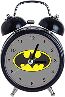 Children's Alarm Clock Vintage Retro Silent Pointer Clocks Round Number Dual Bell Loud Black Alarm Clock Bedside Night Light Home Decors Batman Bat Logo Oval Watch