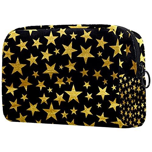 Bolsa De Maquillaje Estrellas De Oro Neceser De Cosméticos Y Organizador De Baño Neceser De Viaje Bolsa De Lavar para Hombre Y Mujer 18.5x7.5x13cm
