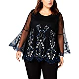 Alfani Womens Plus Lace Embellished Blouse Blue 1X