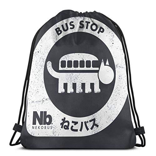 LAKILAN Gym Sack,Lightweight Rucksack,Large Capacity Travel Bag,Storage Goodie Cinch Bag,Men Sport Bag,Drawstring Backpack Neko Bus Stop