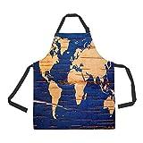 ECZJNT World Map Birch Cork Natural Adjustable Bib Kitchen Apron with Pockets for Women Men