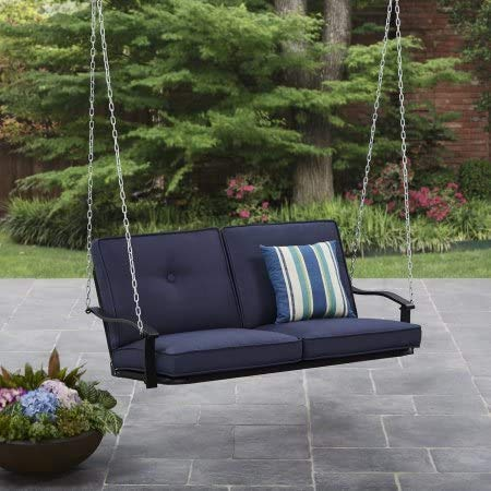 Mainstays Belden Park Outdoor Porch Swing - Navy Blue Cushions