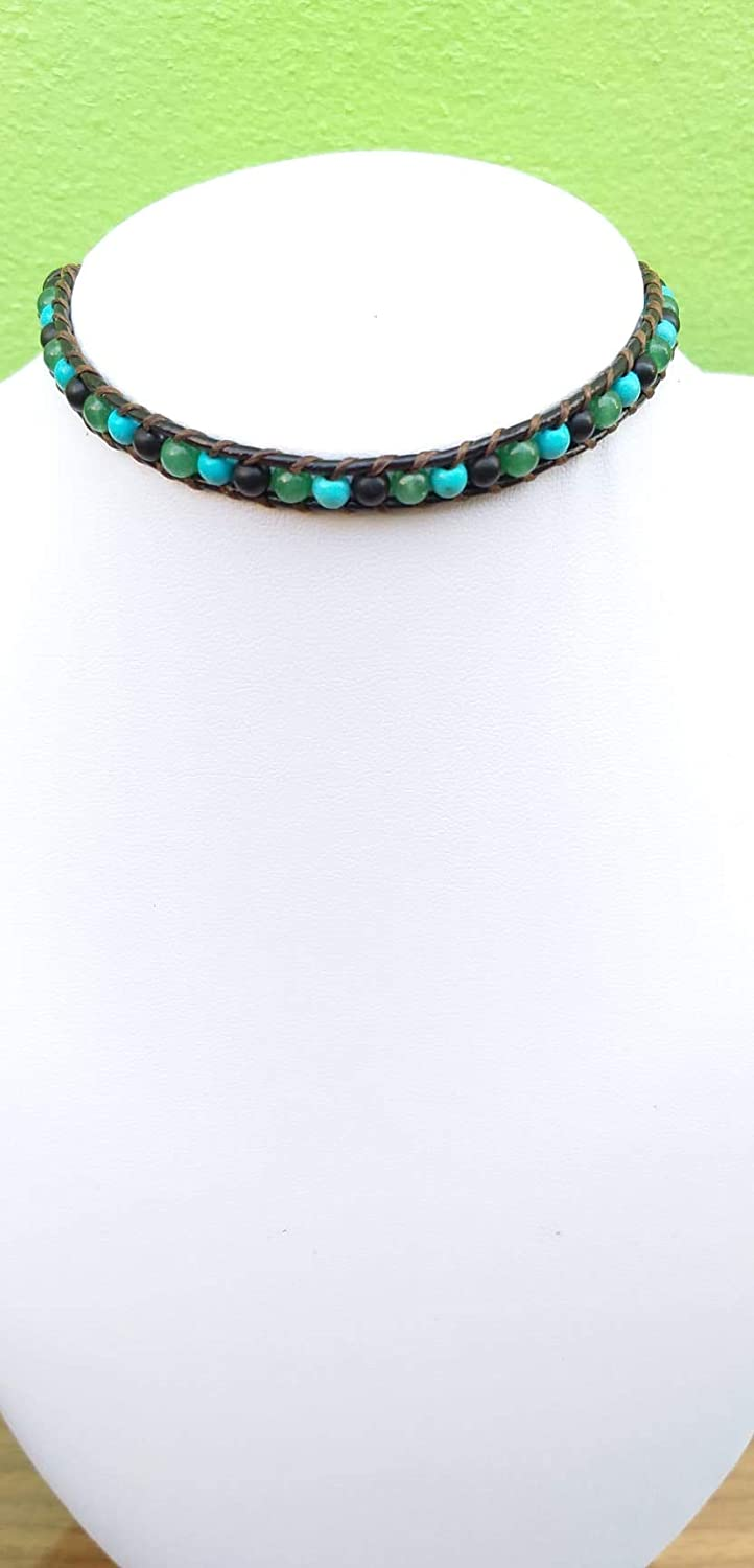 Genuine Choker necklace Turquoise jade Green stone Animer and price revision