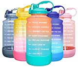 Elvira Large 1 Gallon/128 oz Motivational Time Marker Water Bottle with Straw & Protective Silicone Boot, BPA Free Anti-slip Leakproof for Fitness, Gym and Outdoor Sports-Orange/Green Gradient