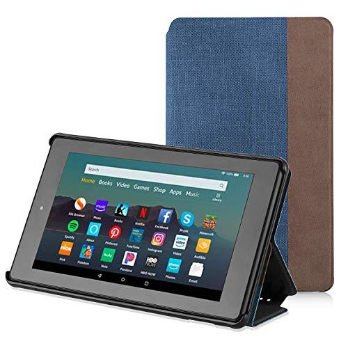 Apiker Hülle für Amazon Fire 7 Tablet (nur für die 9. Generation 2019), Schutzhülle aus Premium-PU-Leder, mit Auto Sleep Wake-Funktion für Fire 7 2019, Blau