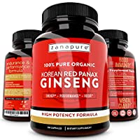 ZANAPURE Organic Korean Red Panax Ginseng 1500mg, 100% Pure, High Potency, Extra Strength Ginsenosides- Supports Energy, Focus & Performance, 120 Vegan Capsules, 60 Servings