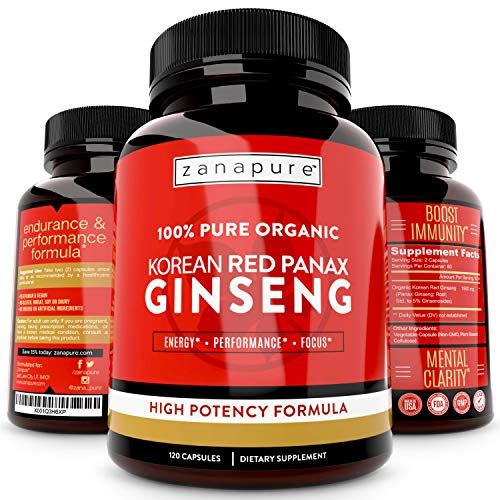 1500mg Organic Korean Red Panax Ginseng 100% Pure High Potency Formulation with Extra Strength Ginsenosides, Improves Energy, Stamina, Cognitive Function & Performance, 120 Vegan Capsules, 60 servings