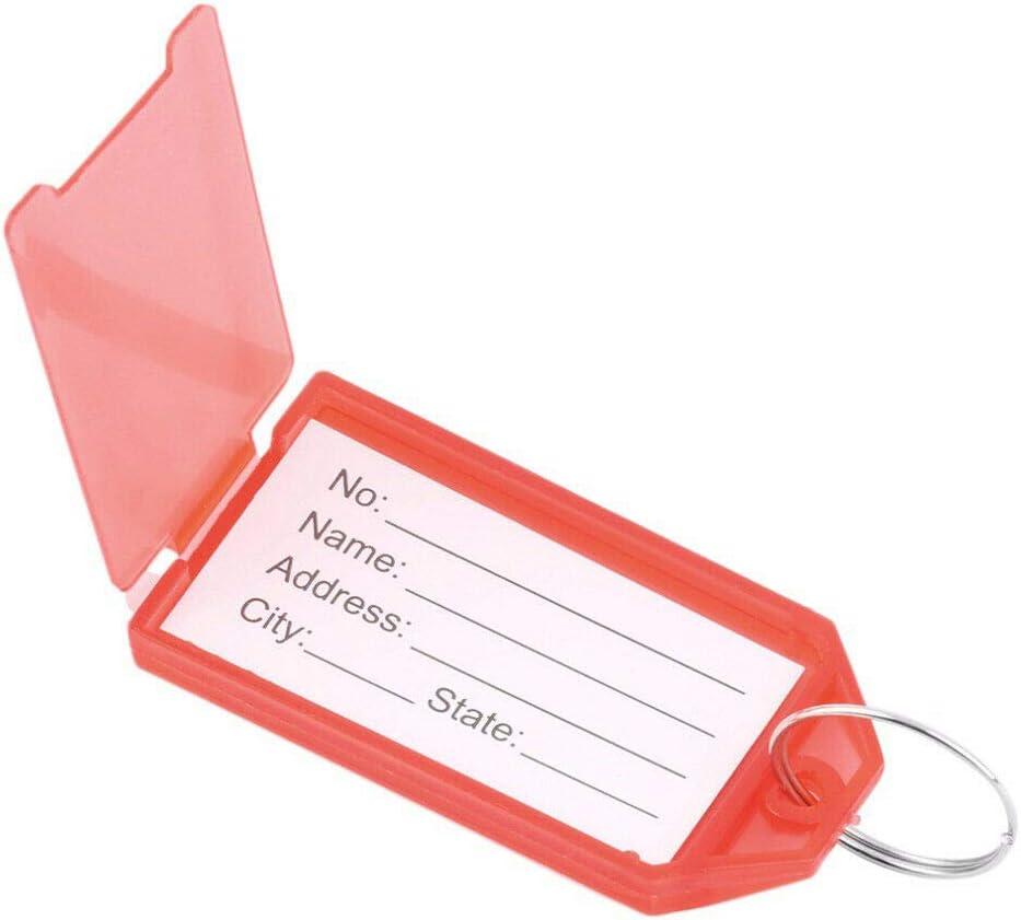 bagages SENRISE Lot de 10 /étiquettes en plastique avec anneau fendu objets personnels Vert porte-/étiquette en papier pour cl/és