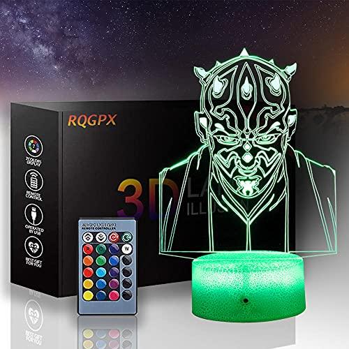 3D ilusión luz nocturna Star Wars Creatividad 3D ilusión lámpara Darth Maul 16 colores cambio automático interruptor táctil escritorio decoración lámparas regalo cumpleaños