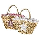 Bolsa capazo bolsa playa fibra natural estrella 58x30x17 cm (Blanco)
