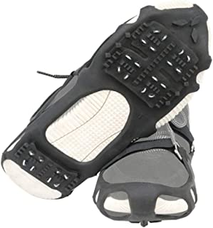 24 Spikes Anti-Slip Ice Grippers for Shoes/Boots, Traction Cleats with 2 Removable Straps for Walking/Jogging/Hiking/Climbing/Fishing (Size: S/M/L/XL)