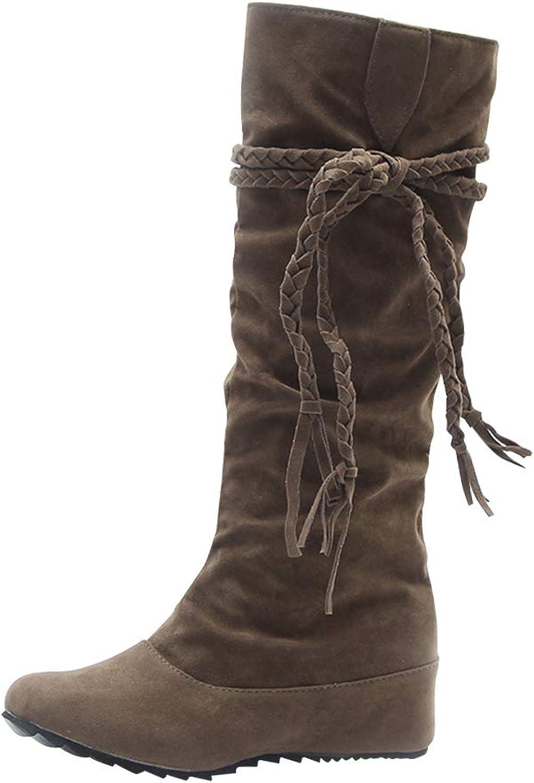 Uirend Fancy Dress for Women - Ladies Knee High Platform Thigh High Boots Wedge Heel Wide Calf Winter Casual Biker Boots