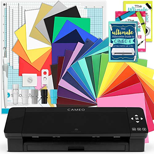 Silhouette Black Cameo 4 Creative Bundle w/ 26 Oracal 651 Sheets, 12 HTV Sheets, Guides, Tools, and More