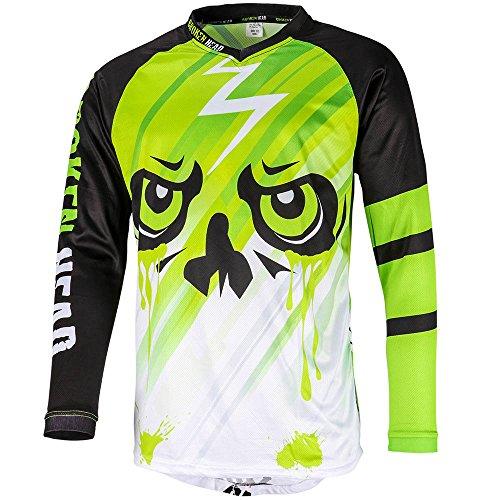 Broken Head MX Jersey Division Grün - Langarm Funktions-Shirt Für Moto-Cross, BMX, Mountain Bike, Offroad - Größe L