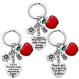 Teacher Appreciation Gift for Women - 3pcs Teacher Keychain Teacher Gifts, Thank You Gifts for Teacher, Christmas Gifts for Teacher Valentine's Day Gift