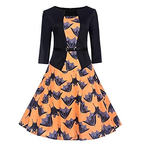 Vestido de mujer para otoño, vintage, años 50, rockabilly, retro, swing, falda...