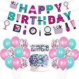 BAIBEI Decoraciones de Fiesta Temática , Globos Cosméticos Moda con Pancarta, Adorno para Tarta, Suministros para Fiestas de Cumpleaños Temáticas