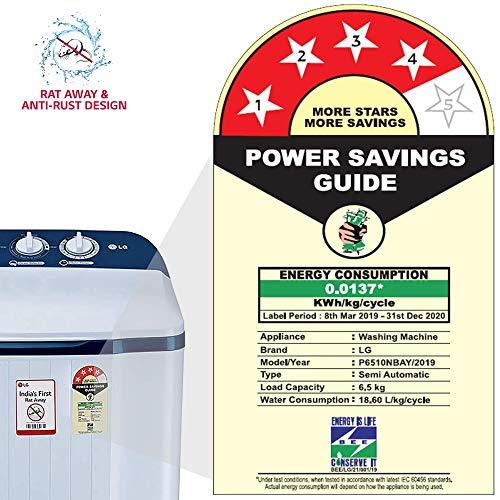 LG 6.5 Kg 4 Star Semi-Automatic Top Loading Washing Machine (P6510NBAY, Dark Blue, Rat Away Technology) 6