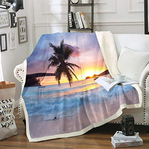 Ocean Wave Fleece Throw Blanket Throw 50'x60' for Bed Sofa Couch Summer Sea Beach Sherpa Blanket Hawaiian Tropical Palm Tree Printed Bedding Cover Microfiber Comforter Cover Sunset