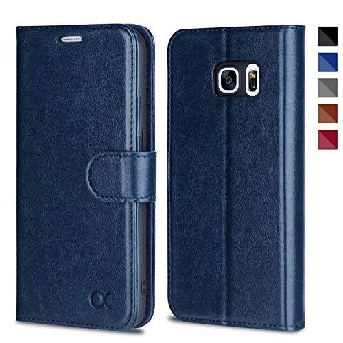 OCASE Samsung Galaxy S7 Hülle, Handyhülle Samsung Galaxy S7 [Premium Leder] [Standfunktion] [Kartenfach] [Magnetverschluss] Leder Brieftasche für Galaxy S7 Blau