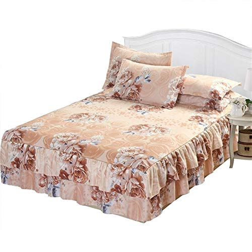 HNXCBH Bed Skirt 150x200cm Plaid Bed Skirt For Home Decor Bed Cover Double Bed Cover Satin Cotton Sheet (Color : A, Size : Bed Skirt)