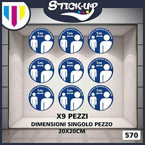 Stick-up Stickers Kit bollini Adesivi Covid19 RIPOSIZIONABILI Distanza di sicurezza-20x20 cm-Adesivo plastificato per Esterni e Interni.Etichette adesive (9)