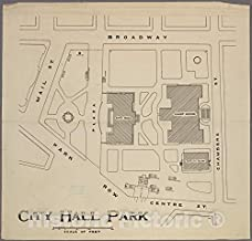 Historic 1914 Map - City Hall Park showing Court House site.of New York City and State - Manhattan - Vintage Wall Art - 44in x 44in