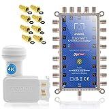 Anadol Zero Watt - Stromloser Multischalter für EIN Satellit 5/16 für 16 Teilnehmer - Eco Sat-Verteiler - Quattro und Quad LNB tauglich - Digital - HD+ HDTV UHD und 4K-Sat-Switcher + Anadol Quad LNB