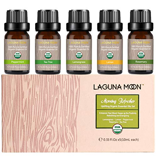 Lagunamoon Essential Oils Gift Set with Top 5 USDA Certified Organic Essential Oil - Tea Tree Lemongrass Lemon Peppermint Rosemary for Diffuser, Humidifier, Massage, Aromatherapy, Skin & Hair Care