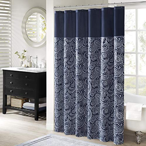 Navy Paisley Shower Curtain