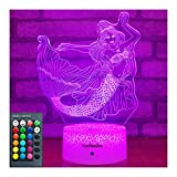 YeeSeeJee Mermaid Toys 3D Night Light with Colors Adjustable Remote & 7 Colors Dimmable Smart Touch Mermaid Gifts for Girls Age 1 2 3 4 5 6 7 8 9 Year Old Girl Gifts (Mermaid 16CW)