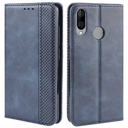 HualuBro Handyhülle für Wiko View 3 Lite Hülle, Retro Leder Brieftasche Tasche Schutzhülle Handytasche LederHülle Flip Hülle Cover für Wiko View3 Lite 2019 - Blau