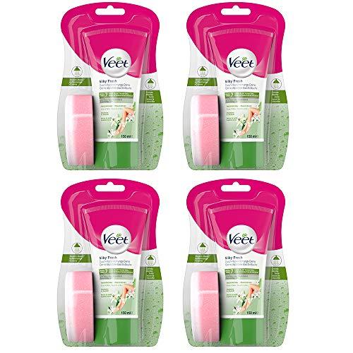Dusch Enthaarungscreme 4er Pack bei trockener Haut für die Anwendung unter der Dusche Veet Dusch-Haarentfernungs-Creme trockene Haut 4x150ml