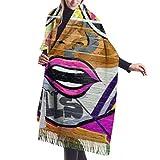 27'x77 Bufanda larga con flecos Pinturas artísticas de la calle al óleo Chales de abrigo Bufandas de cachemira de invierno para mujer Elegante grande Cálido B