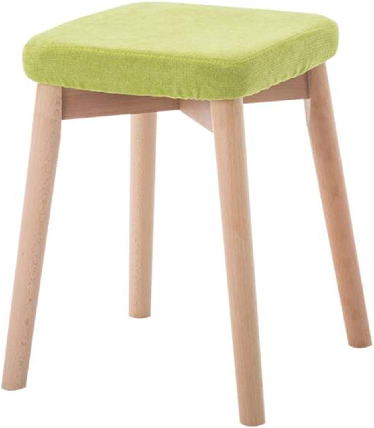 Wooden Dining Stool Modern Makeup Chair Home Dining Stool Adult Fabric Soft Surface Stool, 32  32  45cm