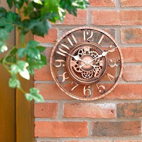 DFD Large 30cm Vintage Open Face Bronze Effekt Wetterfest Outdoor Indoor Garten Wanduhr Dekorative Zaun Ornament