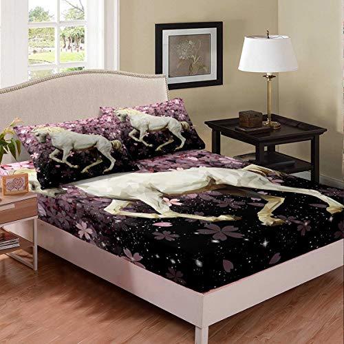 Cherry Blossoms - Juego de ropa de cama de tamaño individual, sábana bajera ajustable para niños y niñas, microfibra suave abstracta animal planta colcha decorativa de 2 piezas
