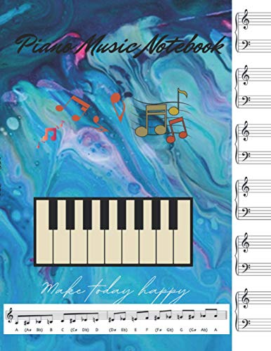 Piano music notebook for writing music, Gradient blue fluid acrylic pour painting cover, 100 pages - Large(8.5 x 11 inches)