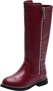 rismart Fille Hautes au Genou Zip Bottes D'équitation Faux Doublé Fourrure Bas Talon Bloc D'hiver Chaussures