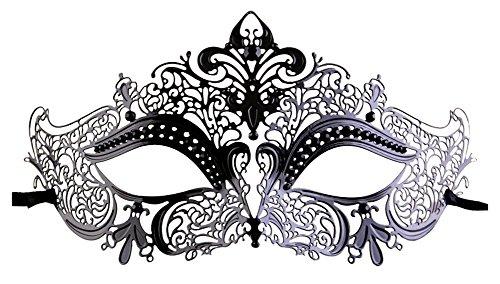 Luxury Mask Women's Laser Cut Metal Venetian Crown Mask, Black No Stones, One...