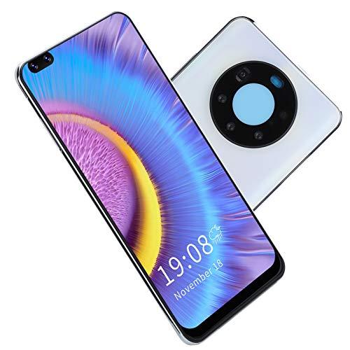 Sxhlseller Smartphone, Mate50 Pro + 6.82in Tarjetas Duales Doble Modo de Espera Desbloqueado Teléfono Celular 2 + 16G Reconocimiento Facial(Blanco)
