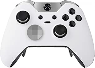 eXtremeRate White Soft Touch Replacement Hosuing Shell Front Faceplate Cover for Xbox One Elite Controller with Thumbstick Accent Rings